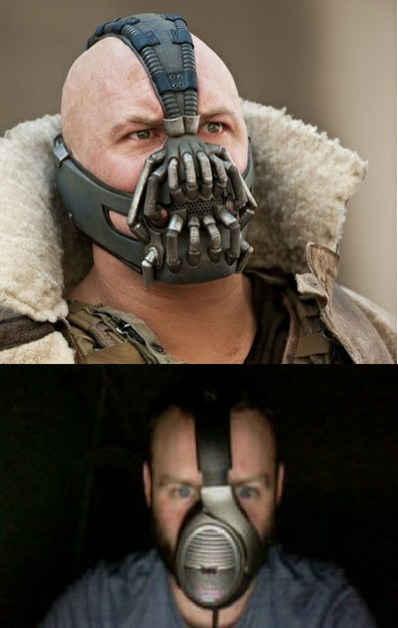 【黑暗骑士崛起】国外网友教你怎么cos贝恩:1、找到一个大耳机。2、竖着戴在脑上。。。