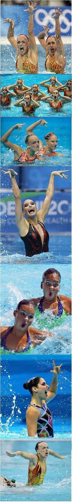 【花样游泳】只有我一个人觉得这些表情好笑么。。。
