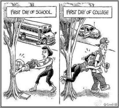 第一天上小学和第一天上大学的区别~戳中~QAQ