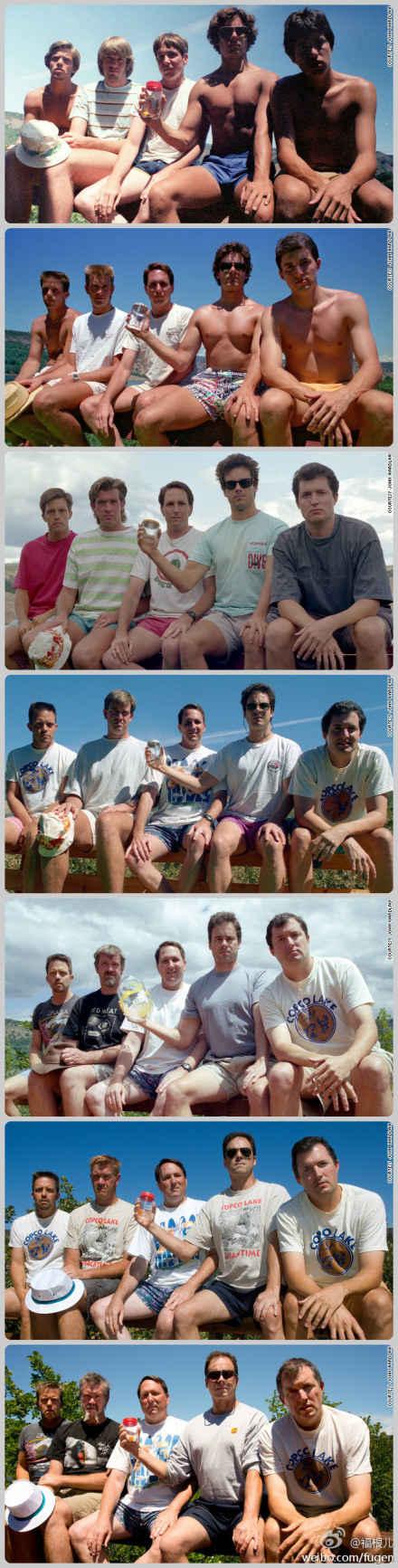 这五个好朋友每隔五年照张合影,至今30年。从上至下,就是时光。