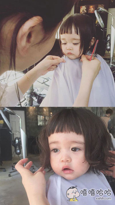 一小萝莉到店里剪头发,有点小怕怕有点小委屈。。。萌得我泪流满面