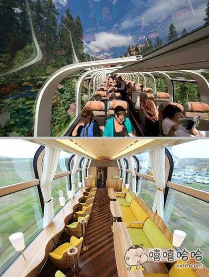 日本设计公司ichibansen推出了景观列车,车厢壁被巨大玻璃窗取代,以便乘客观赏沿途风光!