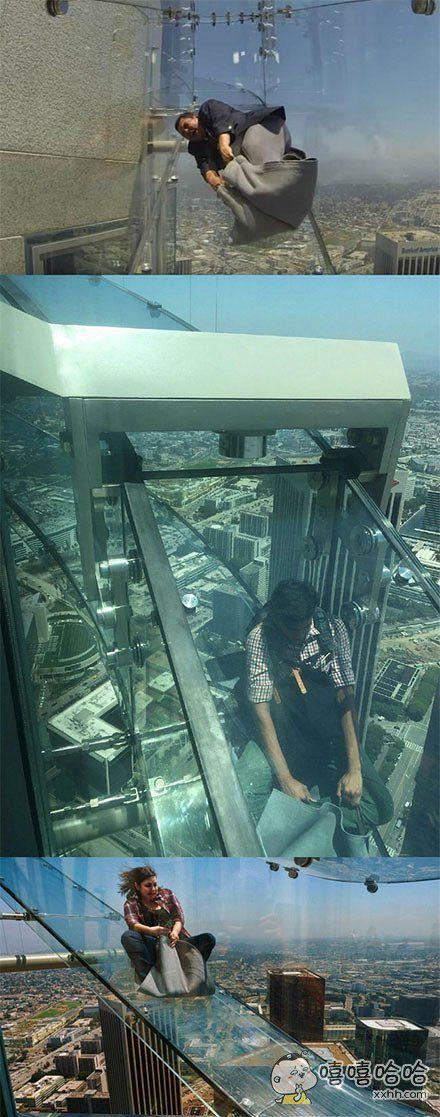 继玻璃栈道,玻璃阳台后,玻璃滑梯也问世了,越来越丧心病狂