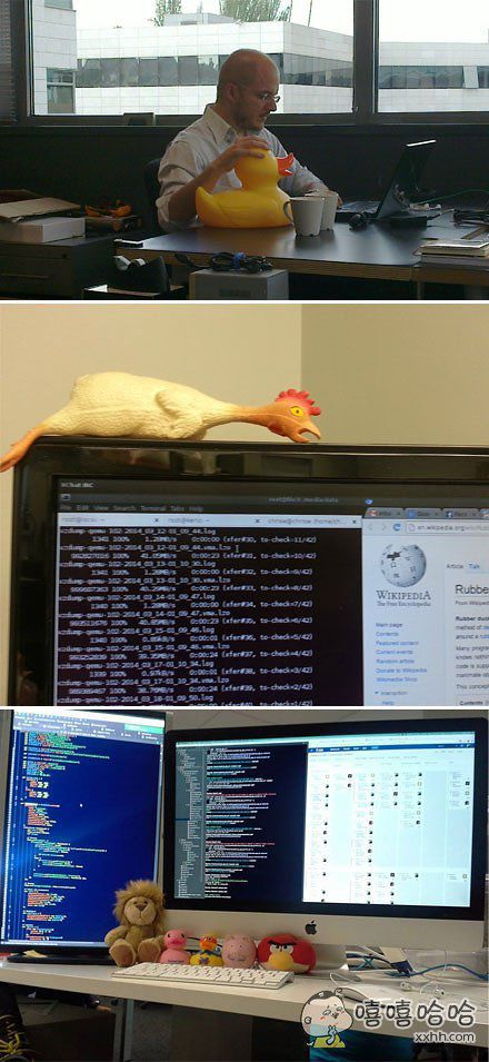 小黄鸭调试法,软件工程中使用的调试代码方法之一。即在程序的调试、纠错或测试过程中,耐心地向小黄鸭解释每一行程序的作用,以此来激发灵感,往往就在解释的过程中击中了问题的解决方案。不一定要小黄鸭,也可以向其它倾诉比如玩具、手办、桌上的盆栽、女朋友(不建议)等。