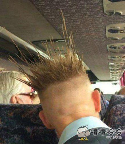 哥们的发型还真是与众不同啊