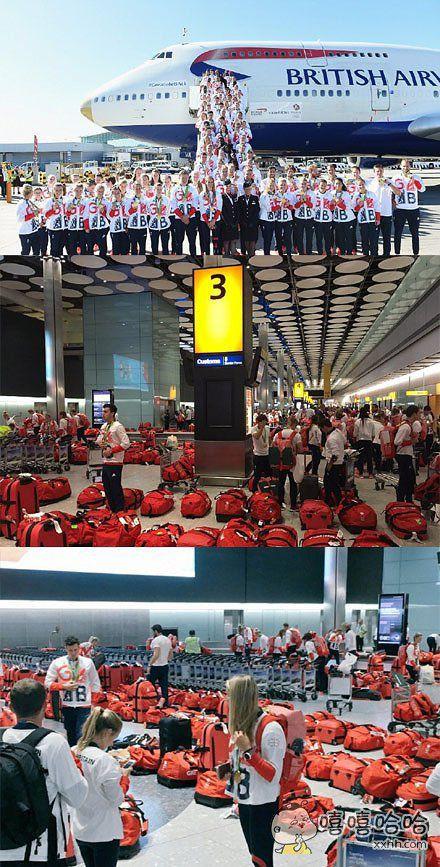 今天英国奥运代表团回到英国。。。。。。。然而。。。。。。。因为赛前都是统一发的服装和行李包。。。。。取托运行李的那一刻。。。。。懵逼了