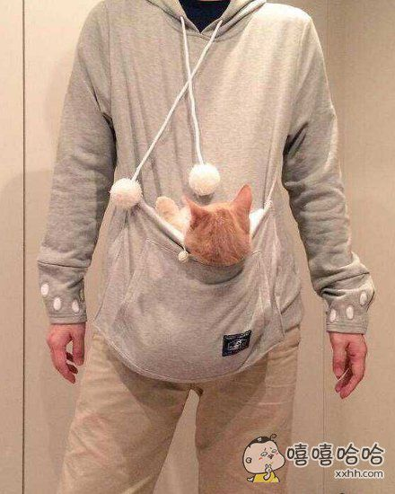 日本一家公司推出的帽衫,前面有个兜儿,方便铲屎官们携带自己的主子。喜欢了