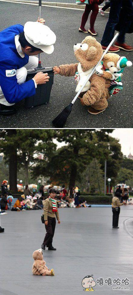 日本的迪斯尼乐园里真的有好多穿着Duffy的小熊宝宝连体衣的小孩啊!一个个都是天使啊啊啊啊啊可爱哭了!