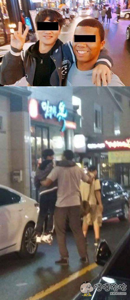 韩国网友分享了一张自己和黑人兄弟的自拍,以及。。。背后甜蜜的真相