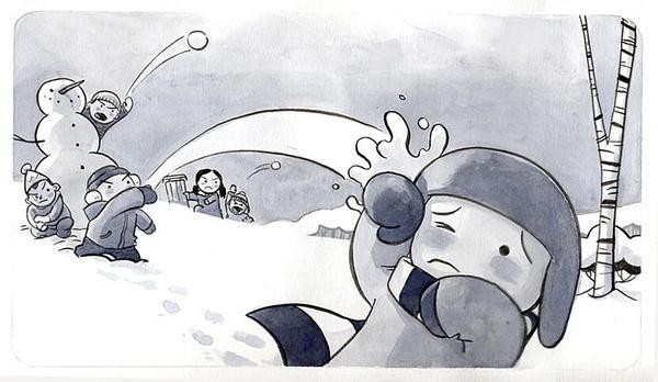 雪后空地上,小孩子们正在兴奋地堆雪人。在一旁偷偷看着他们的小男孩,很是羡慕。这个被小伙伴们排挤的小男孩,只能孤单失落地转身离开了。远处,一只伸出的手映入他的眼帘。小男孩开心地跑了过去,他终于找到新朋友了!当他来到湖面上时,发现这只手其实是一个被溺死在水中的男人,发出的最后求救信号。小男孩在这只冻僵的手旁,快活得堆起了雪人。然而意想不到的事情发生了,这个刚刚结识的新朋友居然醒了过来   这部由就读于加拿大瑟丹学院的两位学生Vera Brosgol和Jenn Kluska合作完成的动画短片,在表现手