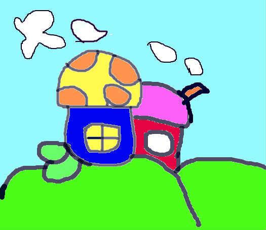 二层蘑菇小房子简笔画展示