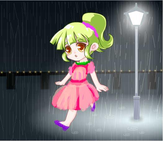雨中奔跑的小女孩图片