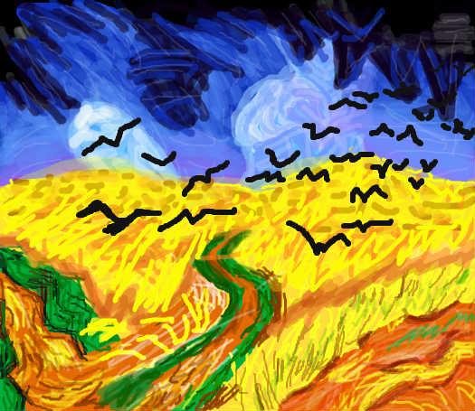 梵高 乌鸦群飞的麦田