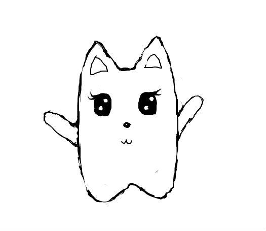 漂亮可爱的猫咪刺青线稿素材素材