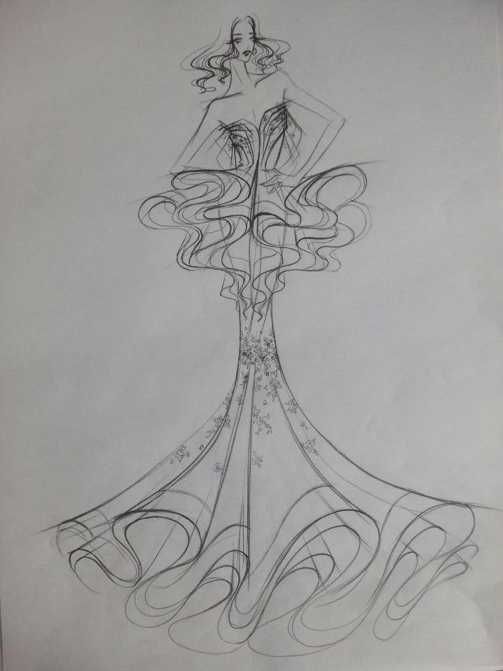 星座铅笔画手绘女生