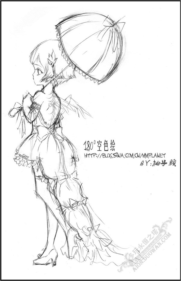 简单动漫人物图片公主长裙线稿