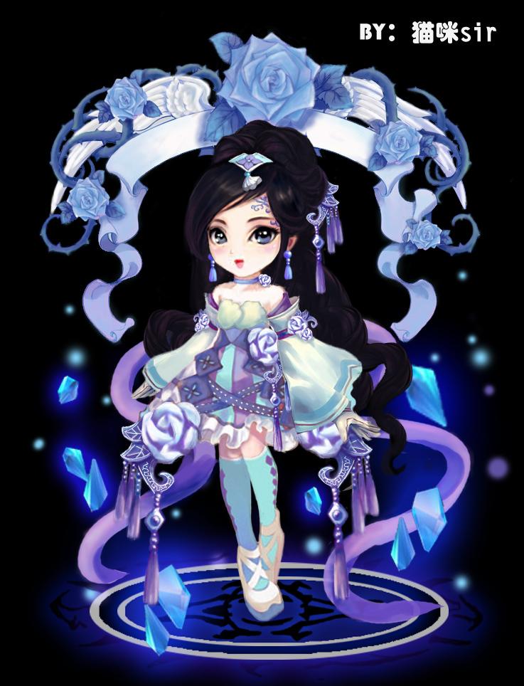 猫咪sir奥比岛板绘秀作品--蓝色蔷薇妖姬