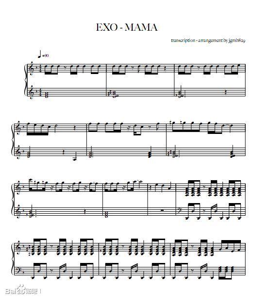 exo部分歌曲钢琴谱