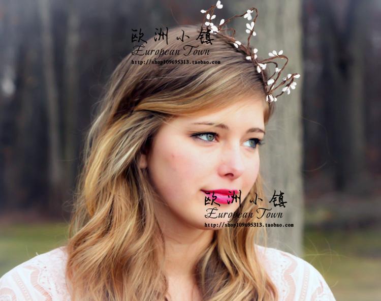 浆果藤条小皇冠头环花环 欧美森系女王风格头饰拍照