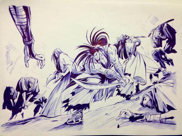 【漫族|晨露】各种大触的圆珠笔画_漫画圈_百田网