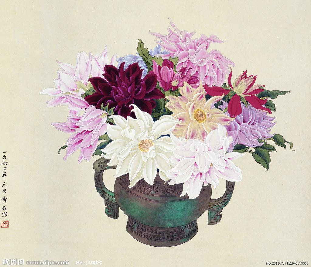 欧式复古花团锦簇画