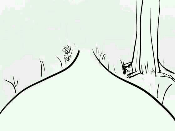 手绘桃花树线稿图片