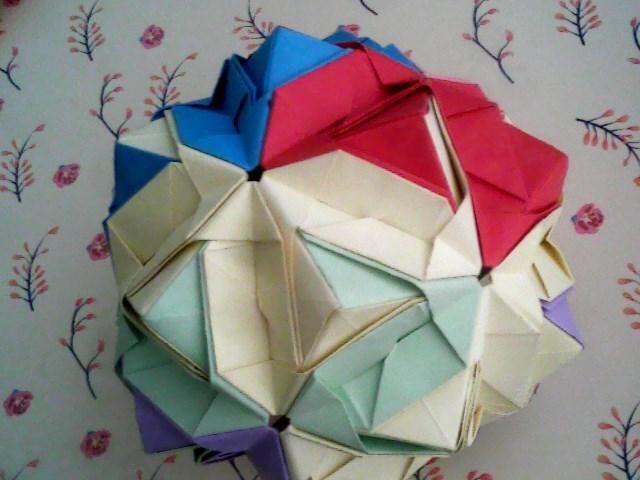 六张纸绣球折纸法图解