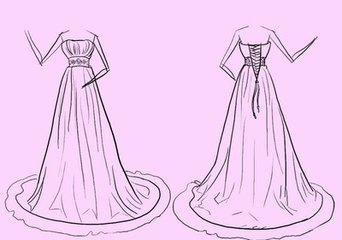 婚纱素描画图片