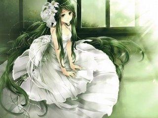 绿发少女白衣少女