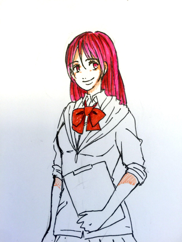 我使用的是普通的水彩笔,因为没有足够浅的颜色所以桃子妞的发色上的