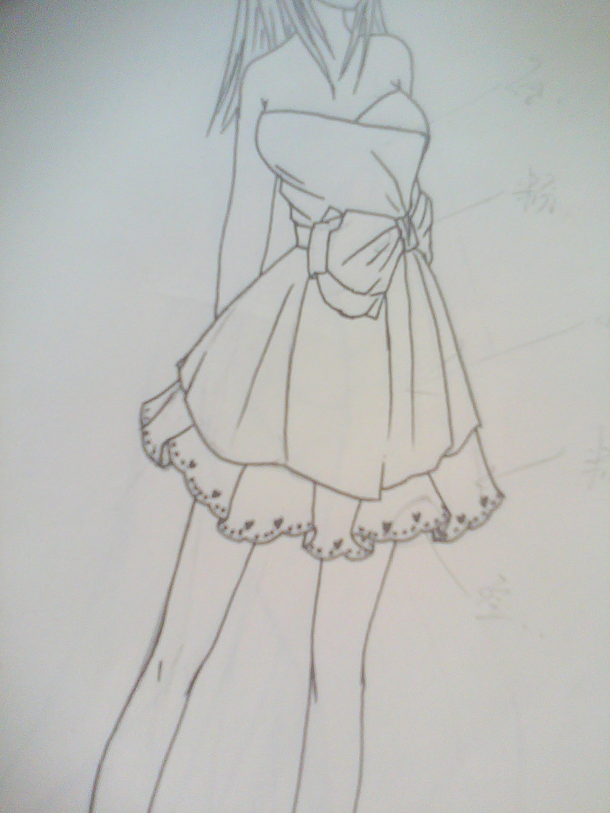 纯手绘铅笔画裙子