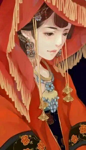 古风女子手绘侧脸