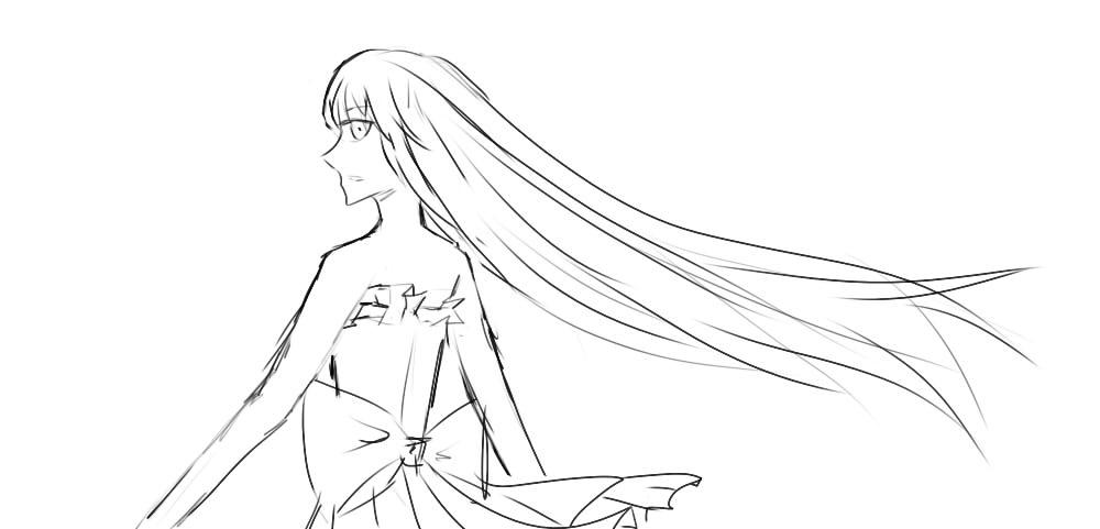 手绘素描单头纱