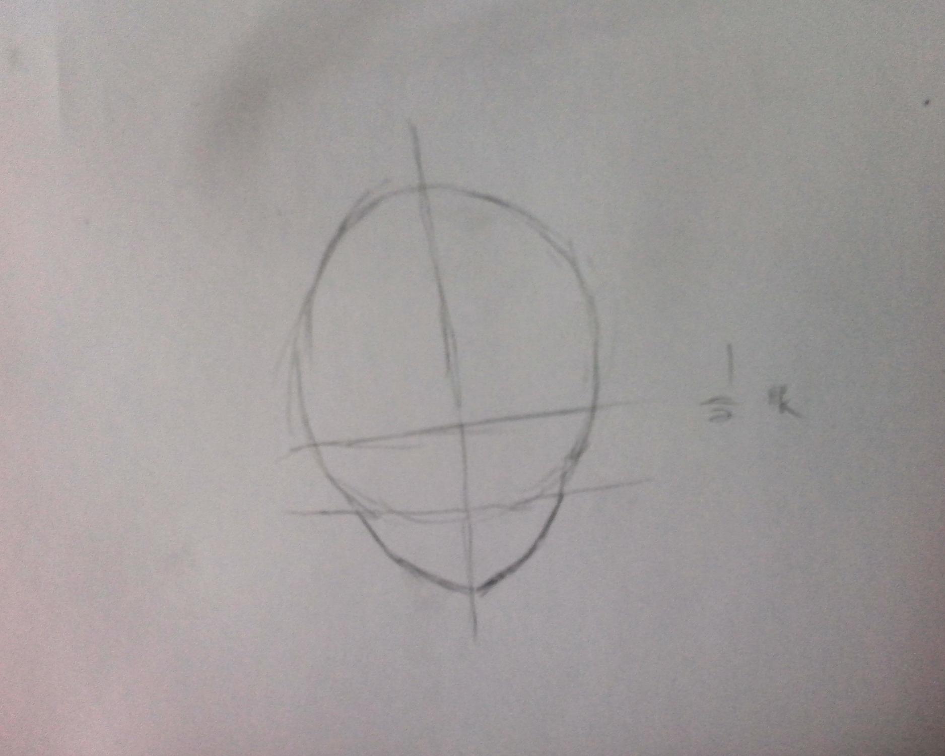 根据十字画脸---先画一个圆,找准鼻子和下巴的位置划一道线,之后连接