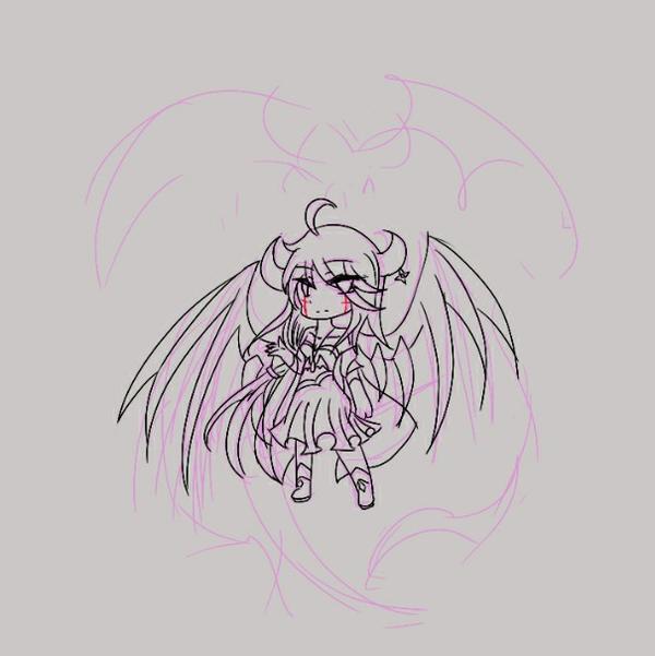 翅膀简笔画步骤恶魔