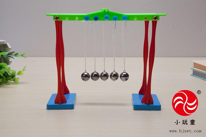 牛顿摆是一个1960年代发明的桌面演示装置,五个质量相同的球体由吊绳固定,彼此紧密排列。牛顿摆是由法国物理学家埃德姆马略特 167年提出的。通过下面的幼儿实验材料让我们一起来探究其中的原理吧! 实验重点: 初步了解能量守恒原理 实验目的: 理解弹性碰撞中的能量守恒定律实验认知:牛顿摆又名牛顿摇篮,它是由若干个悬挂在框架上的小球组成,小球之间要无缝隙,刚 好接触。由于牛顿摇篮演示的各种碰撞现象,源于牛顿力学的基本原理(动量守恒、动能定理等),又因牛顿摇篮小球碰撞后摆动的样子很像 婴儿的摇篮在摆动,所以大家把