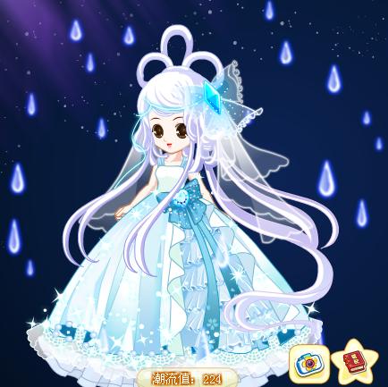 冰晶头纱2,梦幻裙子1.5,荷花仙狐发2.5,雨露雨1,都是设计师奇迹